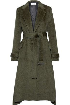 VICTORIA BECKHAM Belted pleated wool and alpaca-blend coat