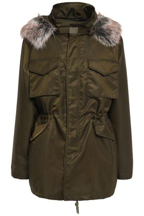 ROKH Faux fur-trimmed shell hooded jacket