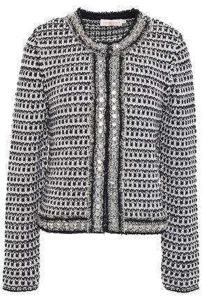TORY BURCH Frayed metallic-trimmed embellished tweed jacket