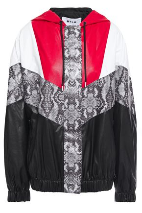 MSGM Paneled color-block snake-print faux leather hooded jacket