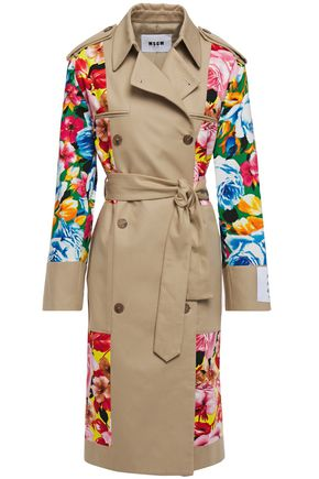 MSGM Floral-print cotton-poplin and twill trench coat