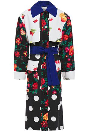 MSGM Ottoman and crepe-paneled printed cotton-gabardine trench coat