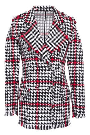 MSGM Double-breasted frayed houndstooth cotton-blend tweed blazer