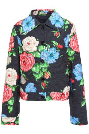 NINA RICCI Floral-print cotton-blend cloqué jacket