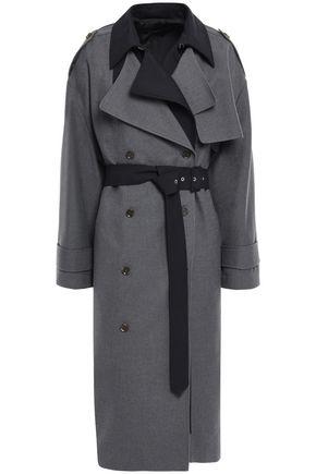 ROKH Layered two-tone gabardine trench coat