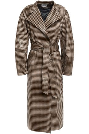 HOUSE OF DAGMAR Belted checked waxed-effect cotton-blend trench coat