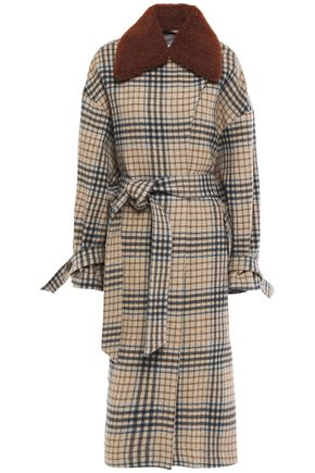 HOUSE OF DAGMAR Rosalie faux fur-trimmed checked wool-blend coat