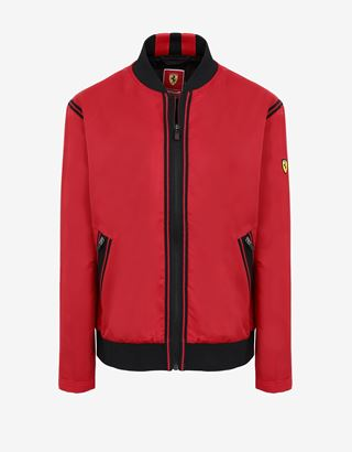 Scuderia Ferrari Online Store - Women's satin bomber with contrasting tapes - Bombers & Track Jackets