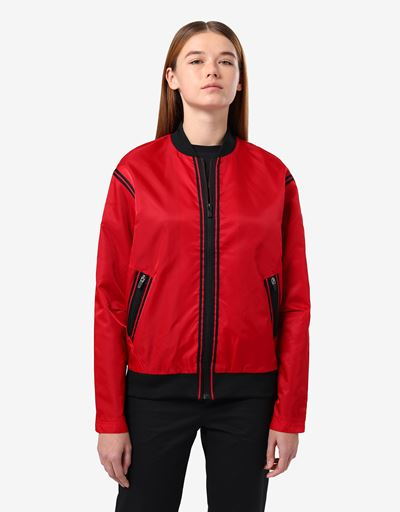 Women's satin bomber with contrasting tapes