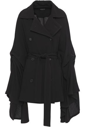 ANN DEMEULEMEESTER Double-breasted belted draped crepe cape