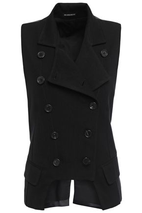 ANN DEMEULEMEESTER Satin-paneled wool and cotton-blend twill vest