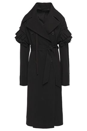 ANN DEMEULEMEESTER Ruffle-trimmed wool and cotton-blend twill coat