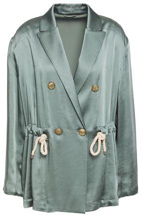 BRUNELLO CUCINELLI Bead-embellished double-breasted satin jacket