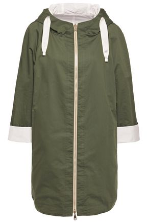 BRUNELLO CUCINELLI Reversble cotton and silk-blend poplin hooded jacket