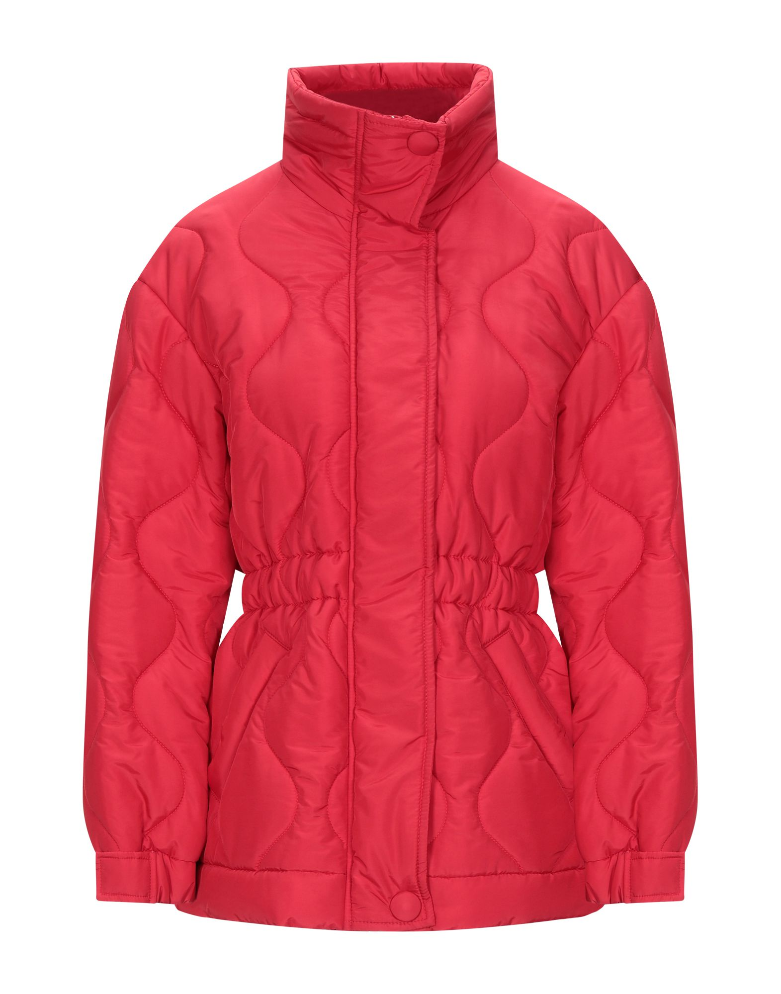 DONDUP Synthetic Down Jackets. techno fabric, logo, solid color, single-breasted, snap-buttons, zip, turtleneck, multipockets, long sleeves, internal padding. 58% Polyamide, 42% Polyester