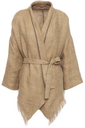 BRUNELLO CUCINELLI Bead-embellished fringed linen jacket