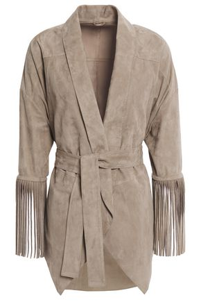 BRUNELLO CUCINELLI Belted bead-embellished nubuck jacket