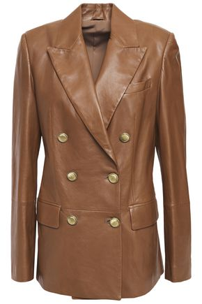 BRUNELLO CUCINELLI Double-breasted bead-embellished leather blazer