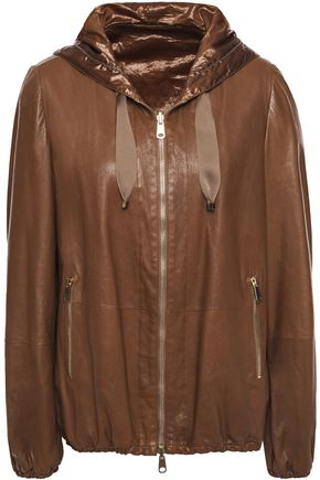 BRUNELLO CUCINELLI Bead-embellished leather hooded jacket