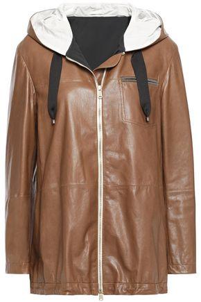 BRUNELLO CUCINELLI Bead-embellished textured-leather hooded jacket
