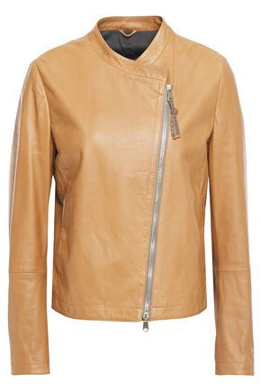 BRUNELLO CUCINELLI Bead-embellished leather jacket