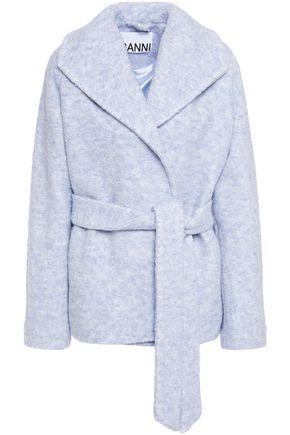 GANNI Mélange wool-blend bouclé coat