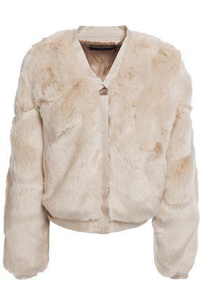 J BRAND Cropped satin-trimmed faux fur jacket