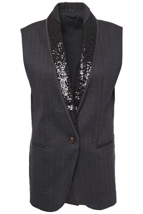 BRUNELLO CUCINELLI Embellished satin-trimmed herringbone cotton-blend vest