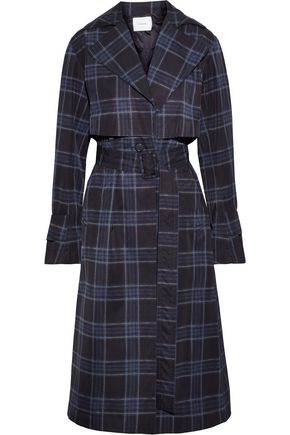 VINCE. Checked shell trench coat