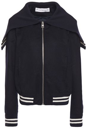 JW ANDERSON Striped wool and alpaca-blend felt bomber jacket