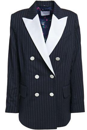 RACIL Casablanca double-breasted pinstriped stretch-wool blazer