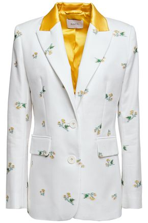 RACIL George satin-trimmed floral-embroidered cotton-blend twill blazer