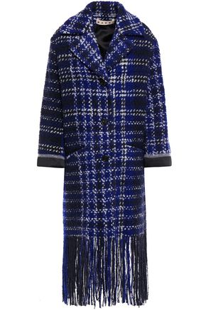 MARNI Satin-trimmed fringed checked wool-blend bouclé-tweed coat