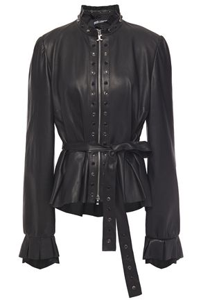 JUST CAVALLI Belted crystal-embellished leather peplum jacket
