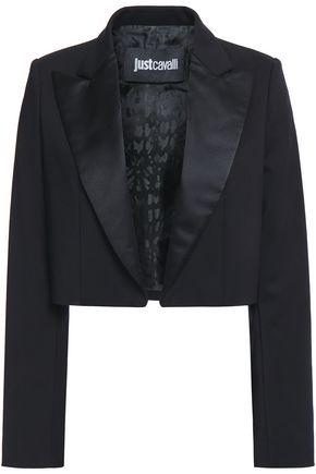 JUST CAVALLI Cropped satin-trimmed cotton-blend blazer