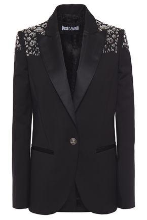 JUST CAVALLI Embellished satin-trimmed cotton-blend blazer