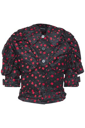 SIMONE ROCHA Belted floral-embroidered satin jacket