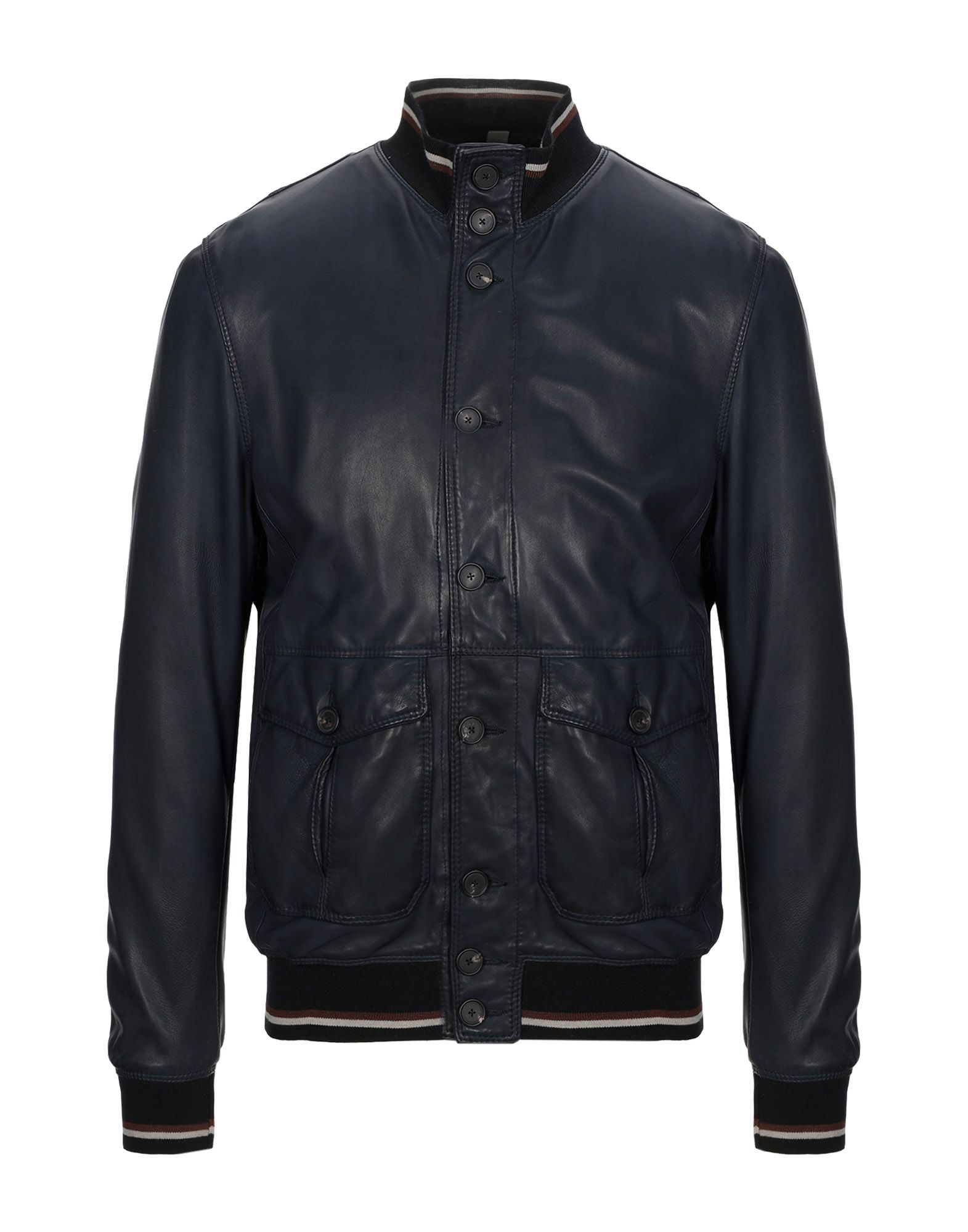 TAGLIATORE Jackets. leather, no appliqués, solid color, single-breasted, button closing, round collar, multipockets, one inside pocket, long sleeves, knitted cuffs, fully lined, contains non-textile parts of animal origin. Soft Leather