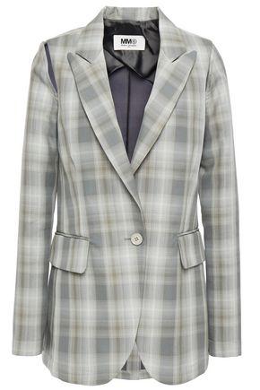 MM6 MAISON MARGIELA Cutout checked cotton-blend twill blazer