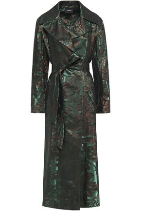 AKRIS Metallic wool-blend jacquard trench coat