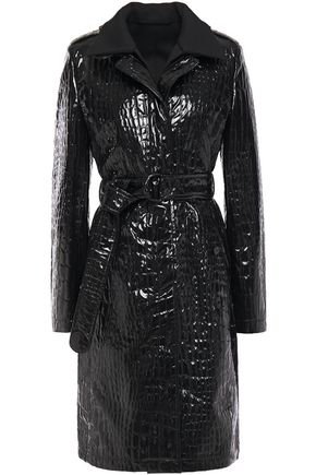 AKRIS Faux croc-effect patent-leather trench coat