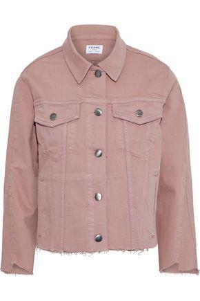 FRAME Le Triangle Gusset frayed denim jacket