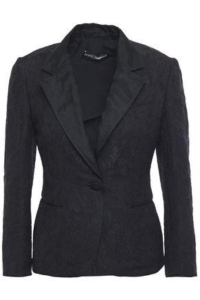 DOLCE & GABBANA Organza-trimmed embbosed jacquard blazer