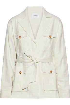 FRAME Cargo belted linen-blend twill jacket