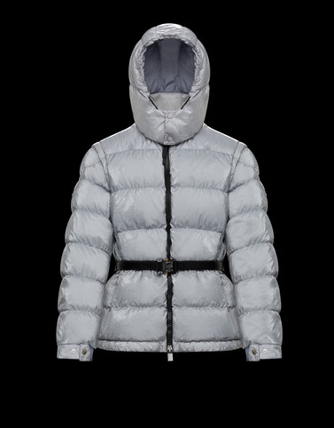 PHOBOS Light grey Short Down Jackets Woman