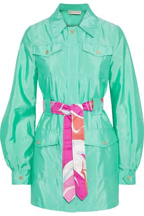 EMILIO PUCCI Printed silk twill-trimmed crinkled-shell jacket