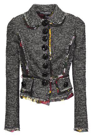 DOLCE & GABBANA Printed chiffon-trimmed tweed jacket
