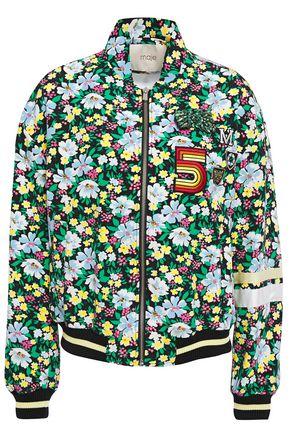 MAJE Bikael floral-print crepe bomber jacket