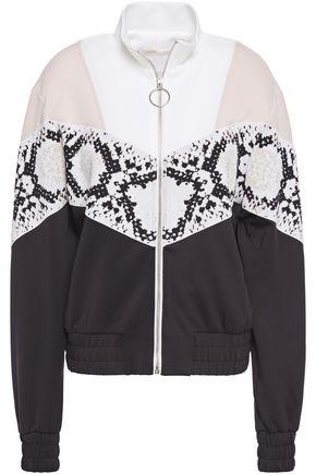 MAJE Thelo jacquard knit-paneled stretch-jersey jacket