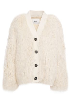 GOEN.J Ribbed knit-trimmed faux shearling jacket